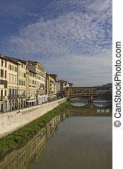 arno río, y, histórico, ponte vecchio, puente