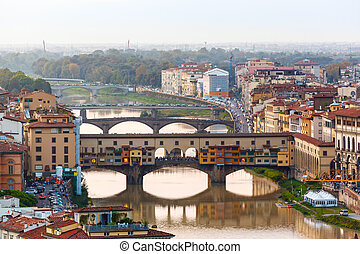 arno río, y, puentes, ponte vecchio