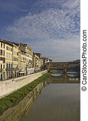 Arno river and historic Ponte Vecchio bridge