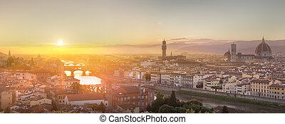 Arno River and Ponte Vecchio at sunset, Florence - Arno ...