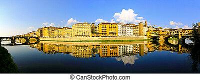 Arno river Florence - River bank of Arno at Florence Tuscany