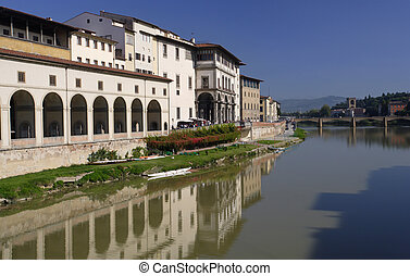 Arno River Florence - The Arno river in Florence, Italy.