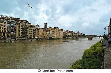 Arno river in Florence, Tuscany, Italy. Ponte Santa Trinita