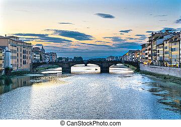 Arno River Ponte Santa Trinita Evening Florence Italy. View...