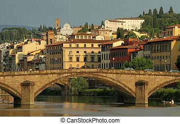 Arno river with bridge Ponte alla Carraia and Villa Bardini ...