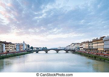 Arno River with Ponte alla Carraia in twilight