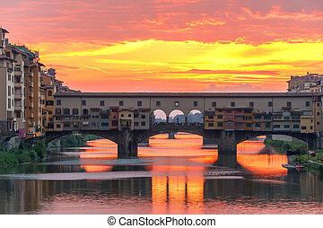 arno, y, ponte vecchio, en, ocaso, florencia, italia