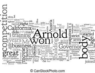 arnold, schwarzenegger, wordcloud, achtergrond, concept, ...