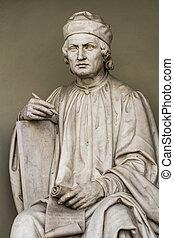 arnolfo, di, cambio, estátua, em, florença, itália