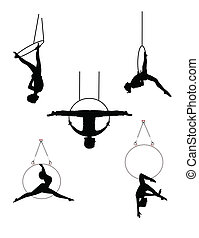 aro, bailarines, aéreo