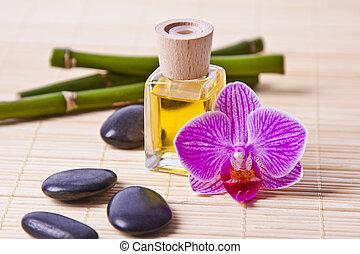 aromático, óleo, garrafa, massagem