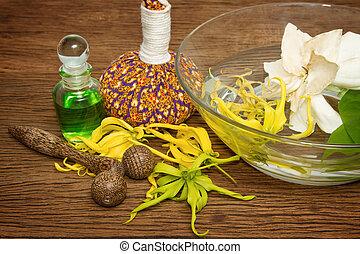 aroma, óleo, com, spa, acessórios, spa, conceito