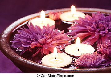 Aroma Bowl with Candles and Flowers