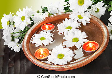 Aroma Bowl with Flowers and Candles