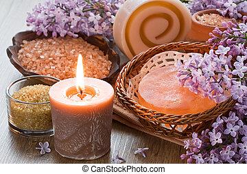 Aroma candle, sea salt, brown sugar, natural soap and lilac...