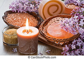 Aroma candle, sea salt, brown sugar, natural soap and lilac ...