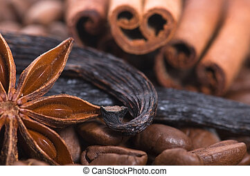 aroma coffe. ingredients. coffe beens, anise, vanilla, ...