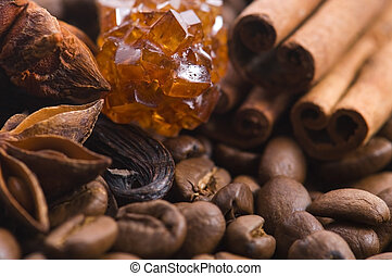 aroma coffe. ingredients. coffe beens, anise, vanilla, cinnamon, sugar