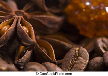 aroma coffe. ingredients. coffe beens, anise, sugar