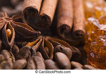 aroma coffe. ingredients. coffe beens, anise, cinnamon, sugar