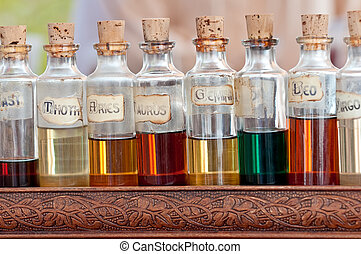Aroma Essentials - Bottles with basics oils, essentials and...