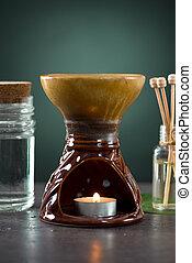 aroma, heiß, therapie, behandlung, spa, steinen, frangipani