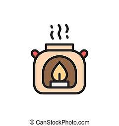 Aroma lamp, gas burner flat color icon.