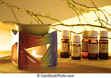 Aromatherapy - Aroma Lamp with Burning Candle and Bottles ...