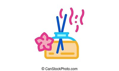 aroma odor parfume stick Icon Animation. color aroma odor parfume stick animated icon on white background