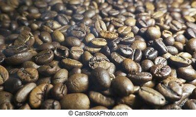 Aroma of coffee, Roasted Coffee Bean, rising smoke.