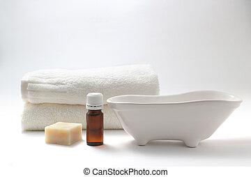Aroma oil and spa set - Aroma oil bottles, soap, a bathtub ...