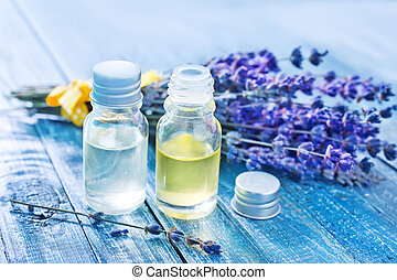 aroma oil in bottle and on a table