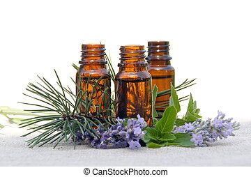 aroma, olie, in, flessen, met, lavendel, dennenboom, en,...