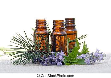 aroma, olio, in, bottiglie, con, lavanda, pino, e, menta