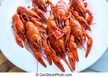 red fragrant boiled crayfish on a plate