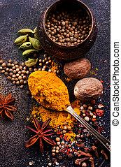 aroma spice, garlic and salt on a table