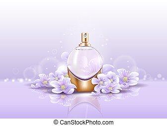aroma, spruzzatore, bottiglia, vetreria, profumo, o