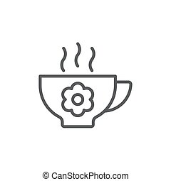 Aroma tea cup with flower vector icon symbol isolated on white background