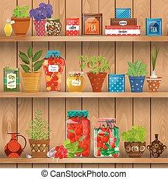 aromate, étagères, poterie, frais, pots., planté, produire, pré