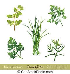 aromate, amendes, mélange, francais, herbes