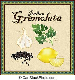 aromate, mélange, italien, gremolata