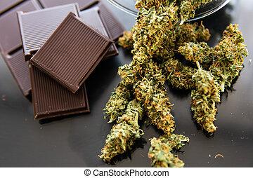 aromate, marijuana, chocolat, cannabis, noir, cbd., traitement, nourriture, table., monde médical, arrière-plan., usage, concept, bourgeons