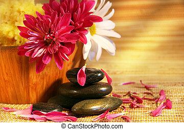 aromathérapie, à, rose, et, blanc, chrysanthèmes