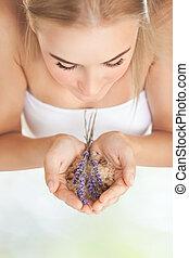 aromathérapie, girl, apprécier, joli