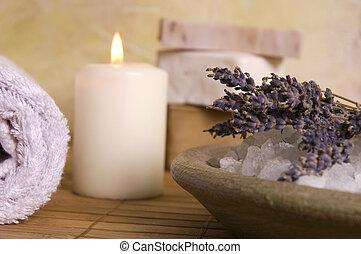 aromathérapie, items., lavande, bain