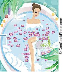 aromatherapy, 女, 持つこと, 若い, 浴室