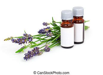 aromatherapy, 라벤더 기름, 와..., 라벤더 꽃, 고립된, 백색 위에서, 배경