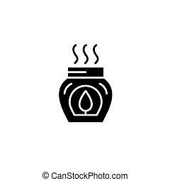 Aromatherapy black icon concept. Aromatherapy flat  vector symbol, sign, illustration.