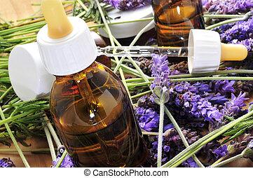 aromatherapy, blumen, lavendelöl