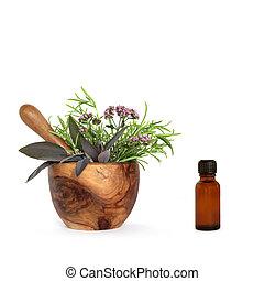 aromatherapy, essentiële olie, keukenkruiden